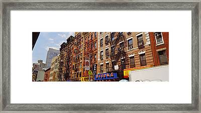 Buildings In A Street, Mott Street Framed Print by Panoramic Images