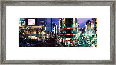 Buildings Lit Up At Night, Shinjuku Framed Print by Panoramic Images