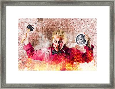 Burning Girl Holding Clock And Hammer. Apocalypse Now Framed Print by Jorgo Photography - Wall Art Gallery