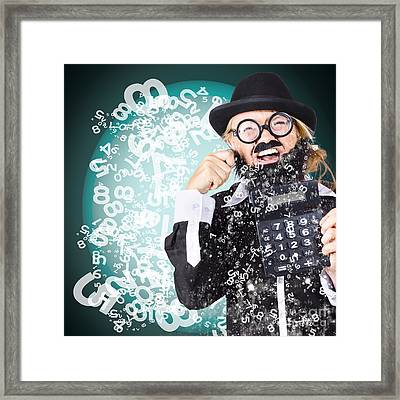 Business Accountant Crying Numbers And Figures Framed Print by Jorgo Photography - Wall Art Gallery