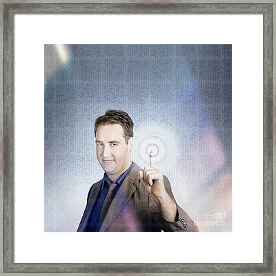 Business Man Pressing Digital Target Touch Screen Framed Print by Jorgo Photography - Wall Art Gallery