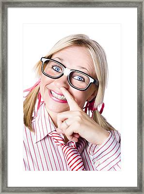 Business Woman Picking Her Brain Framed Print by Jorgo Photography - Wall Art Gallery