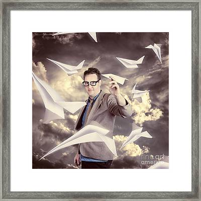 Businessman Developing And Expanding Market Share Framed Print by Jorgo Photography - Wall Art Gallery