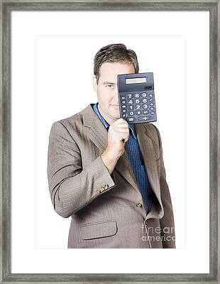Businessman Holding Calculator Framed Print by Jorgo Photography - Wall Art Gallery