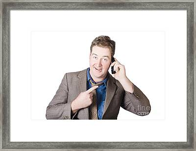 Businessman Receiving Good News On A Great Call Framed Print by Jorgo Photography - Wall Art Gallery
