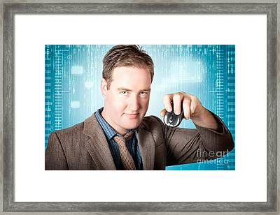 Businessman Searching Internet With Wireless Mouse Framed Print by Jorgo Photography - Wall Art Gallery