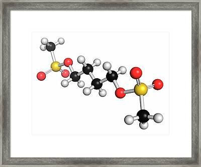Busulfan Chemotherapy Drug Molecule Framed Print by Molekuul