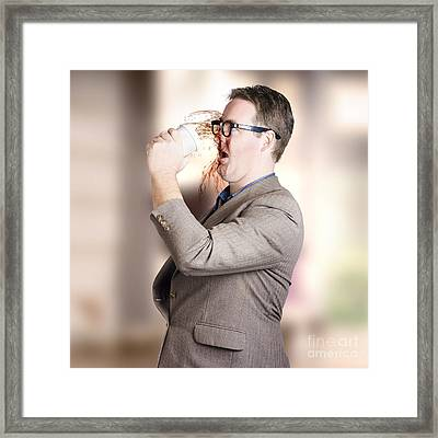 Busy Business Man Drinking Coffee On The Run Framed Print by Jorgo Photography - Wall Art Gallery
