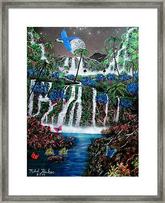 Tropical Waterfalls Framed Print by Michael Rucker