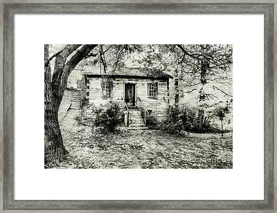 Cabin In The Woods Framed Print by Darren Fisher
