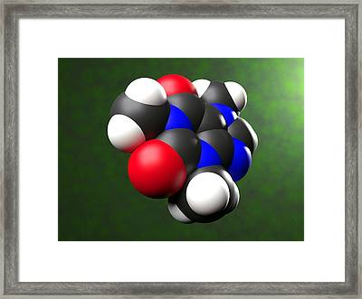 Caffeine Molecule Framed Print by Science Photo Library