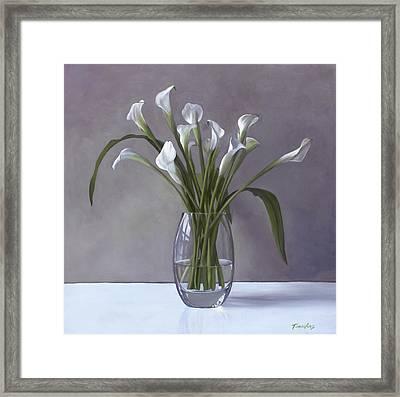 Calla Lilies In A Vase Framed Print by Linda Tenukas