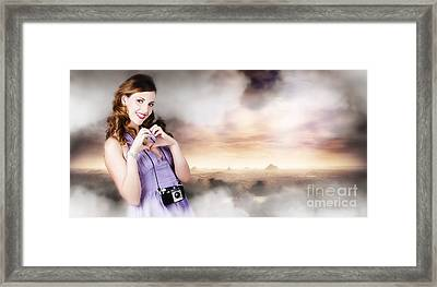 Camera Woman In Love With Taking Landscape Photos  Framed Print by Jorgo Photography - Wall Art Gallery