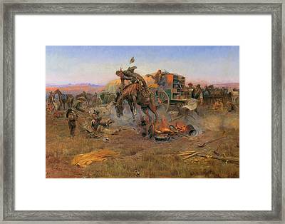 Camp Cook's Troubles Framed Print by Charles M Russell