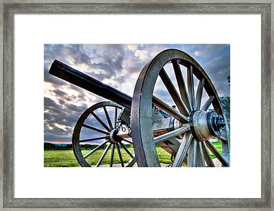 Cannon Over Gettysburg Framed Print by Andres Leon