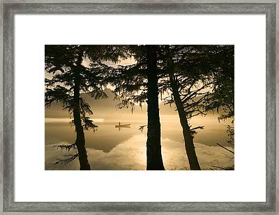 Canoeist On Mendenhall Lake In Morning Framed Print by Michael DeYoung