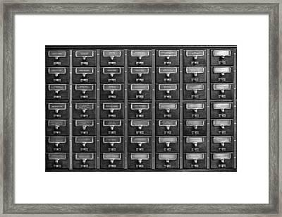 Card Catalog Framed Print by Mountain Dreams