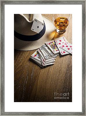Card Gambling Framed Print by Carlos Caetano