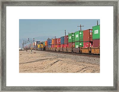 Cargo Container Trains Framed Print by Jim West