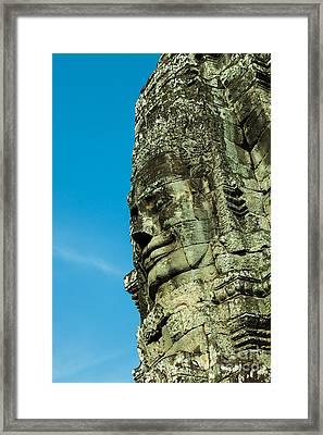 Carved Face At Bayon Temple Angkor Cambodia Framed Print by Fototrav Print