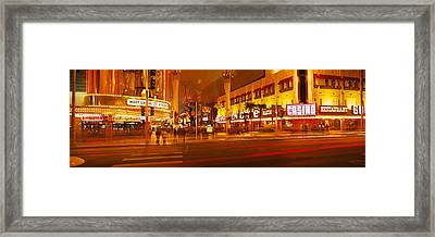 Casino Lit Up At Night, Fremont Street Framed Print by Panoramic Images