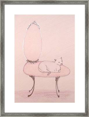 Cat On A Vanity Chair Framed Print by Christine Corretti