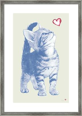 Cat With Love Hart Pop Modern Art Etching Poster Framed Print by Kim Wang