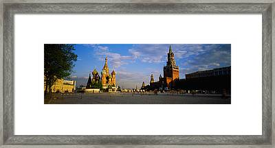 Cathedral At A Town Square, St. Basils Framed Print by Panoramic Images