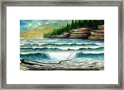 Cave Point Framed Print by Steven Schultz