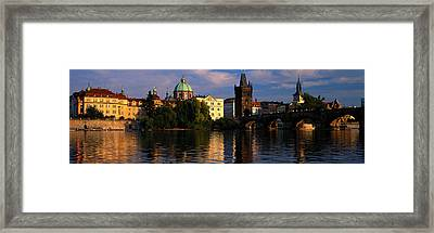 Charles Bridge Vltava River Prague Framed Print by Panoramic Images