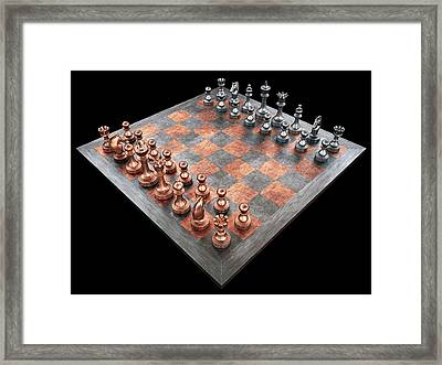 Chess Board And Pieces Framed Print by Ktsdesign