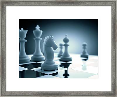 Chess Piece On Chess Board Framed Print by Ktsdesign