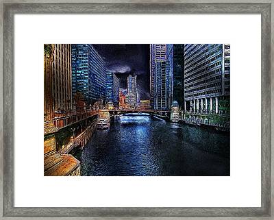 Chicago Evening Framed Print by Cary Shapiro