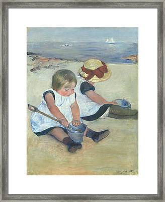 Children Playing On The Beach Framed Print by Celestial Images
