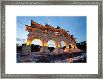 Chinese Archways On Liberty Square In Taipei Taiwan Framed Print by Fototrav Print