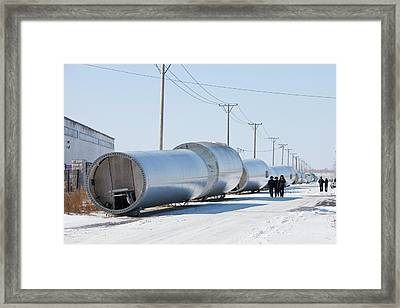 Chinese Wind Turbine Factory Framed Print by Ashley Cooper