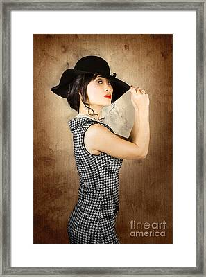 Chinese Woman Posing With Fashionable Summer Hat Framed Print by Jorgo Photography - Wall Art Gallery