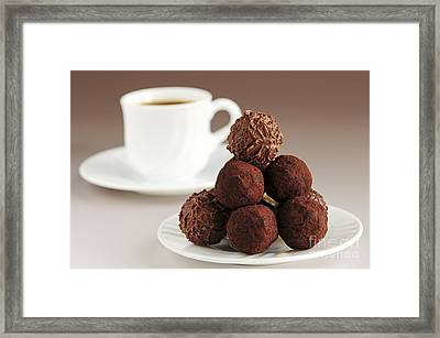 Chocolate Truffles And Coffee Framed Print by Elena Elisseeva