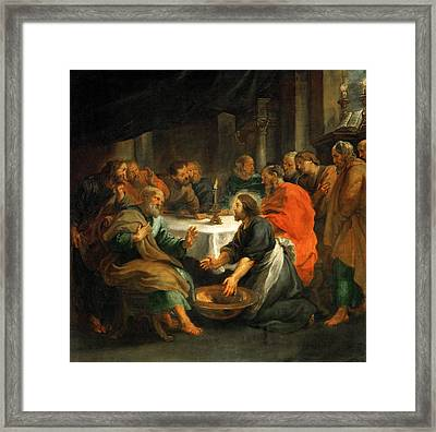 Christ Washing The Apostles' Feet Framed Print by Peter Paul Rubens