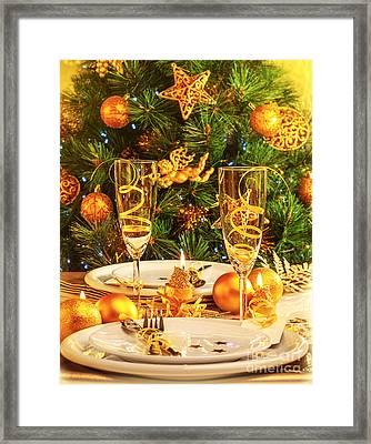 Christmas Dinner In Restaurant Framed Print by Anna Omelchenko