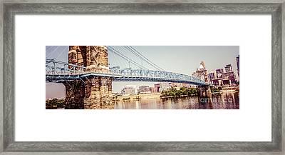 Cincinnati Bridge Retro Panorama Photo Framed Print by Paul Velgos