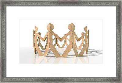 Circle Of Cutout Paper Cardboard Men Framed Print by Allan Swart