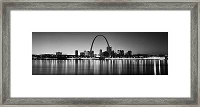 City Lit Up At Night, Gateway Arch Framed Print by Panoramic Images