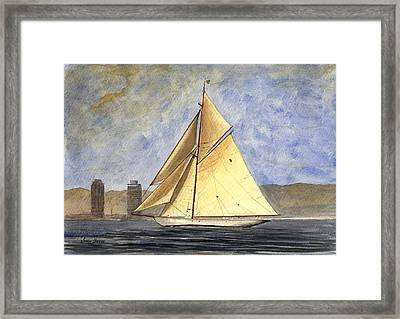 Classic Yacht Barcelona Framed Print by Juan  Bosco