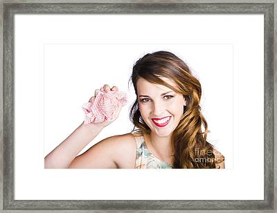 Cleaner Woman With Dish Cloth Framed Print by Jorgo Photography - Wall Art Gallery