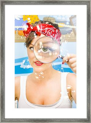 Cleaning Lady Detective Framed Print by Jorgo Photography - Wall Art Gallery