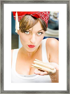 Cleaning Lady Holding Pegs Framed Print by Jorgo Photography - Wall Art Gallery