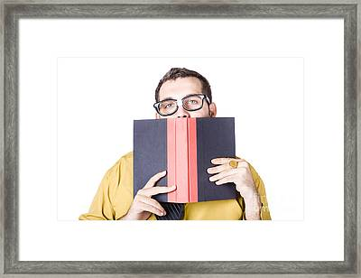 Clever Businessman With Book Of Wisdom Framed Print by Jorgo Photography - Wall Art Gallery