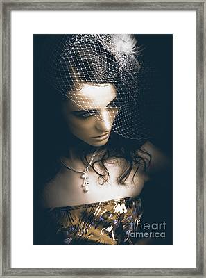 Close Up Portrait Of A Beautiful Vintage Bride Framed Print by Jorgo Photography - Wall Art Gallery