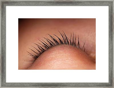 Closed Eye Of Young Woman Showing Eyelid Framed Print by Dorling Kindersley/uig